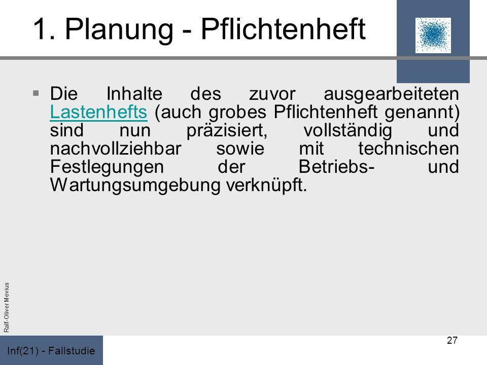 Inf(21) - Fallstudie Ralf-Oliver Mevius 1. Planung - Pflichtenheft Die Inhalte des zuvor ausgearbeiteten Lastenhefts (auch grobes Pflichtenheft genann
