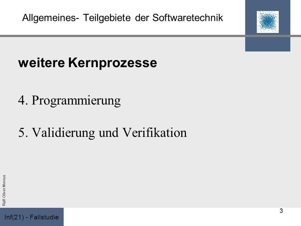 Inf(21) - Fallstudie Ralf-Oliver Mevius Allgemeines- Teilgebiete der Softwaretechnik weitere Kernprozesse 4. Programmierung 5. Validierung und Verifik