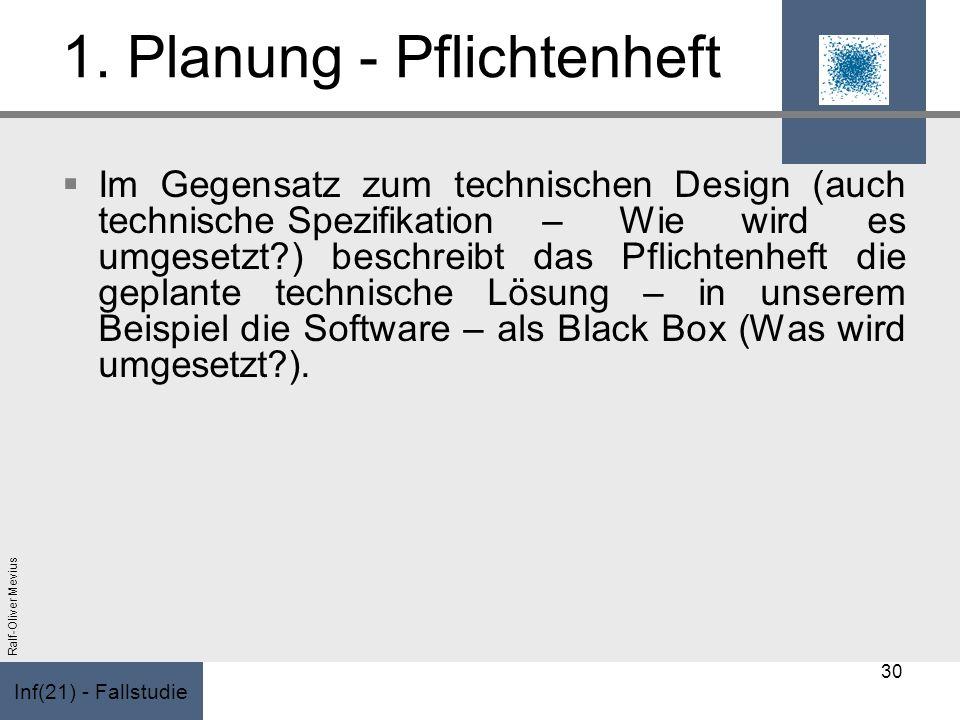 Inf(21) - Fallstudie Ralf-Oliver Mevius 1. Planung - Pflichtenheft Im Gegensatz zum technischen Design (auch technische Spezifikation – Wie wird es um