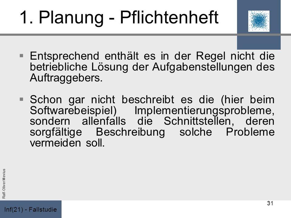 Inf(21) - Fallstudie Ralf-Oliver Mevius 1. Planung - Pflichtenheft Entsprechend enthält es in der Regel nicht die betriebliche Lösung der Aufgabenstel