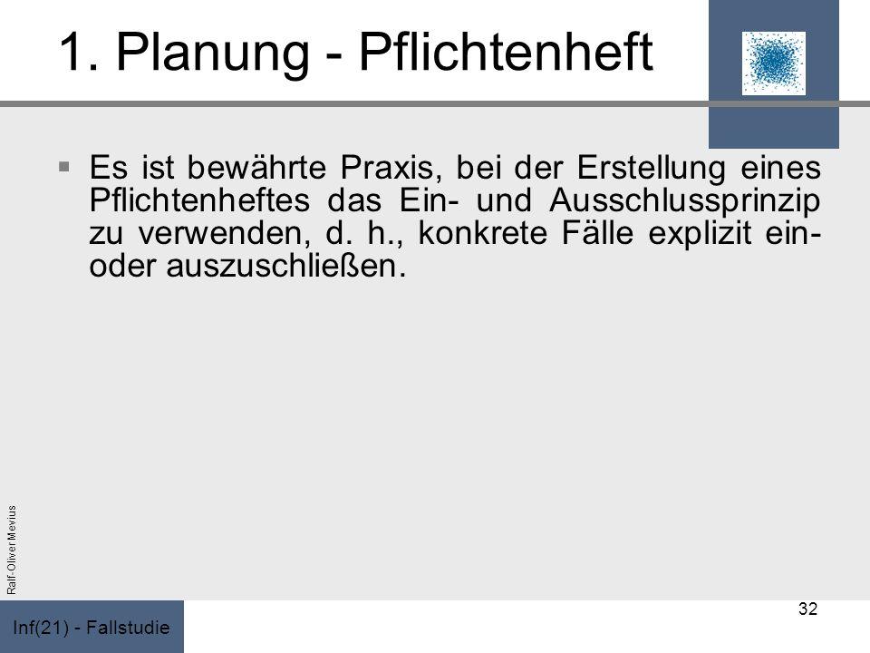 Inf(21) - Fallstudie Ralf-Oliver Mevius 1. Planung - Pflichtenheft Es ist bewährte Praxis, bei der Erstellung eines Pflichtenheftes das Ein- und Aussc