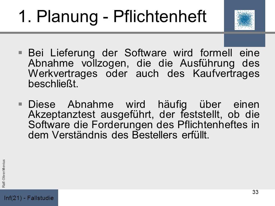 Inf(21) - Fallstudie Ralf-Oliver Mevius 1. Planung - Pflichtenheft Bei Lieferung der Software wird formell eine Abnahme vollzogen, die die Ausführung