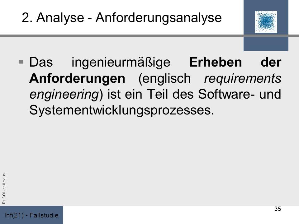 Inf(21) - Fallstudie Ralf-Oliver Mevius 2. Analyse - Anforderungsanalyse Das ingenieurmäßige Erheben der Anforderungen (englisch requirements engineer