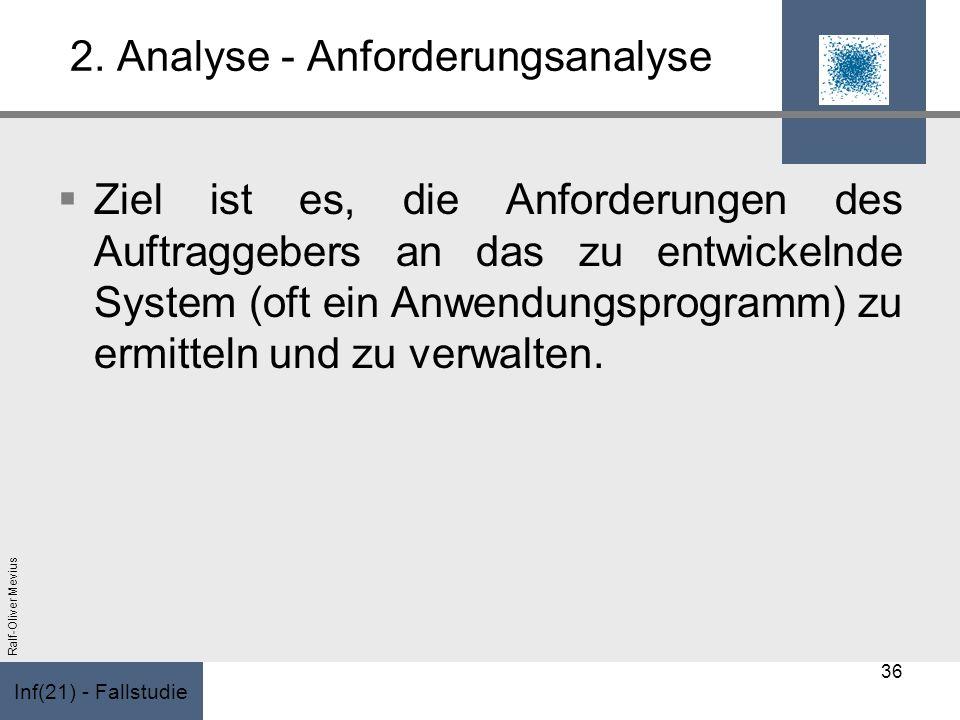 Inf(21) - Fallstudie Ralf-Oliver Mevius 2. Analyse - Anforderungsanalyse Ziel ist es, die Anforderungen des Auftraggebers an das zu entwickelnde Syste