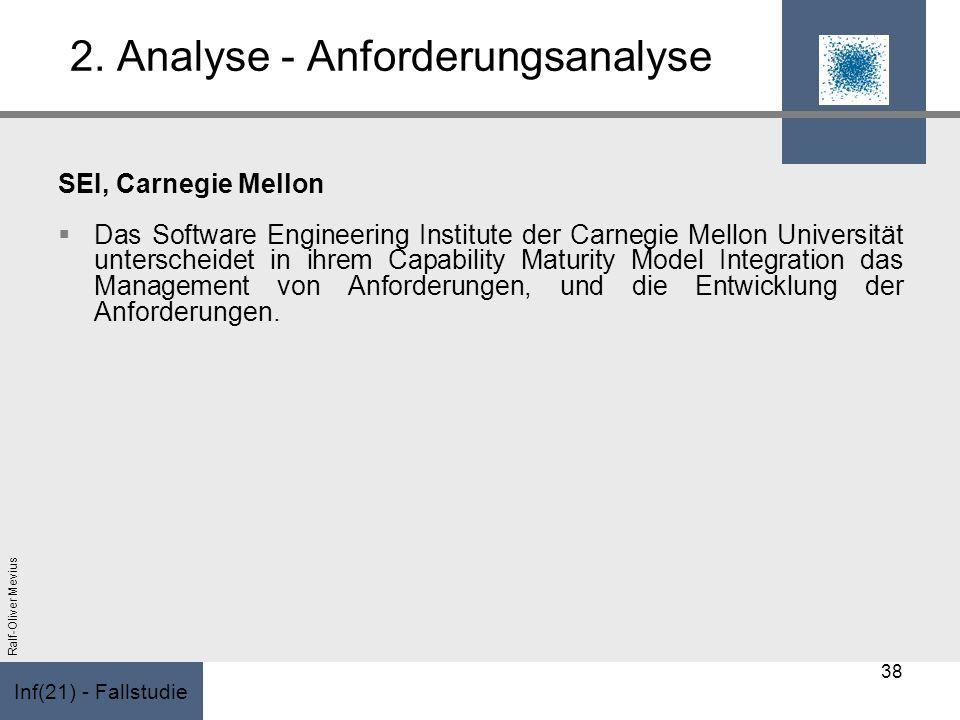 Inf(21) - Fallstudie Ralf-Oliver Mevius 2. Analyse - Anforderungsanalyse SEI, Carnegie Mellon Das Software Engineering Institute der Carnegie Mellon U