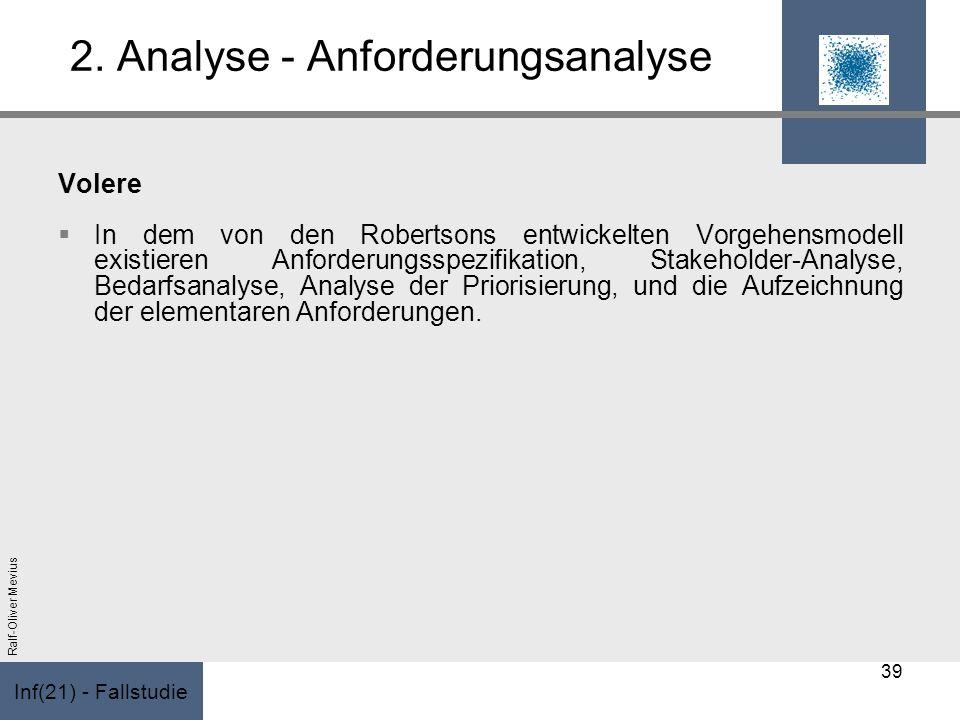 Inf(21) - Fallstudie Ralf-Oliver Mevius 2. Analyse - Anforderungsanalyse Volere In dem von den Robertsons entwickelten Vorgehensmodell existieren Anfo