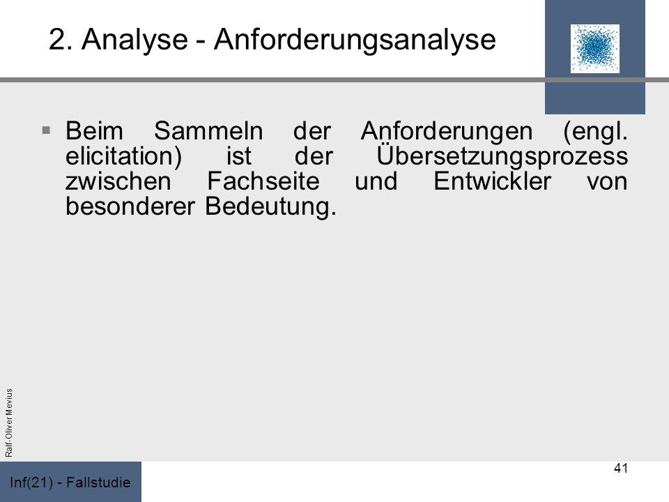 Inf(21) - Fallstudie Ralf-Oliver Mevius 2. Analyse - Anforderungsanalyse Beim Sammeln der Anforderungen (engl. elicitation) ist der Übersetzungsprozes