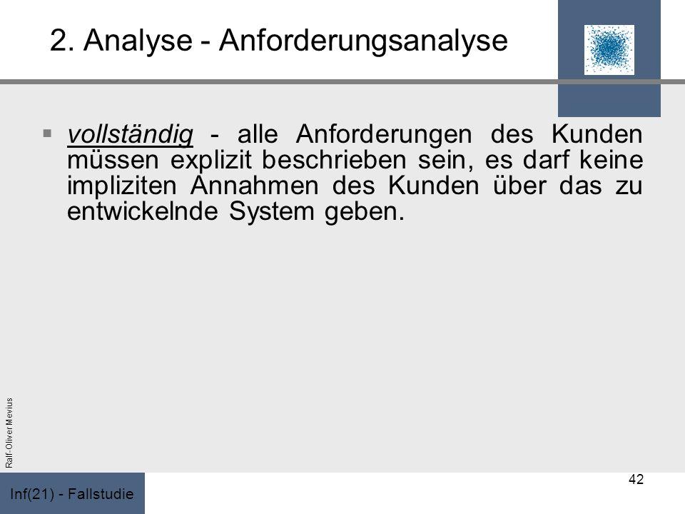 Inf(21) - Fallstudie Ralf-Oliver Mevius 2. Analyse - Anforderungsanalyse vollständig - alle Anforderungen des Kunden müssen explizit beschrieben sein,