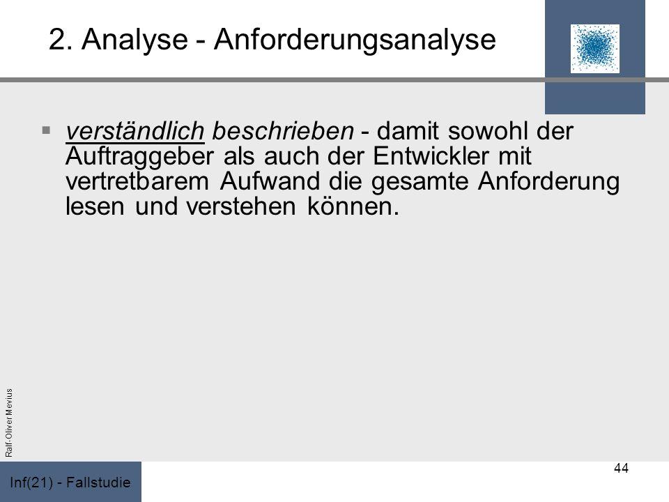 Inf(21) - Fallstudie Ralf-Oliver Mevius 2. Analyse - Anforderungsanalyse verständlich beschrieben - damit sowohl der Auftraggeber als auch der Entwick