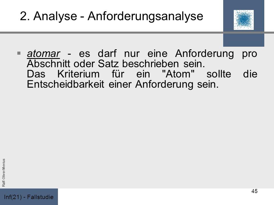 Inf(21) - Fallstudie Ralf-Oliver Mevius 2. Analyse - Anforderungsanalyse atomar - es darf nur eine Anforderung pro Abschnitt oder Satz beschrieben sei