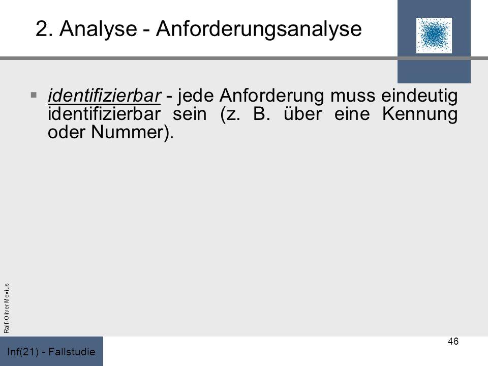 Inf(21) - Fallstudie Ralf-Oliver Mevius 2. Analyse - Anforderungsanalyse identifizierbar - jede Anforderung muss eindeutig identifizierbar sein (z. B.
