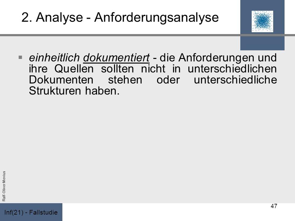 Inf(21) - Fallstudie Ralf-Oliver Mevius 2. Analyse - Anforderungsanalyse einheitlich dokumentiert - die Anforderungen und ihre Quellen sollten nicht i