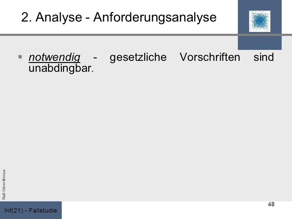 Inf(21) - Fallstudie Ralf-Oliver Mevius 2. Analyse - Anforderungsanalyse notwendig - gesetzliche Vorschriften sind unabdingbar. 48