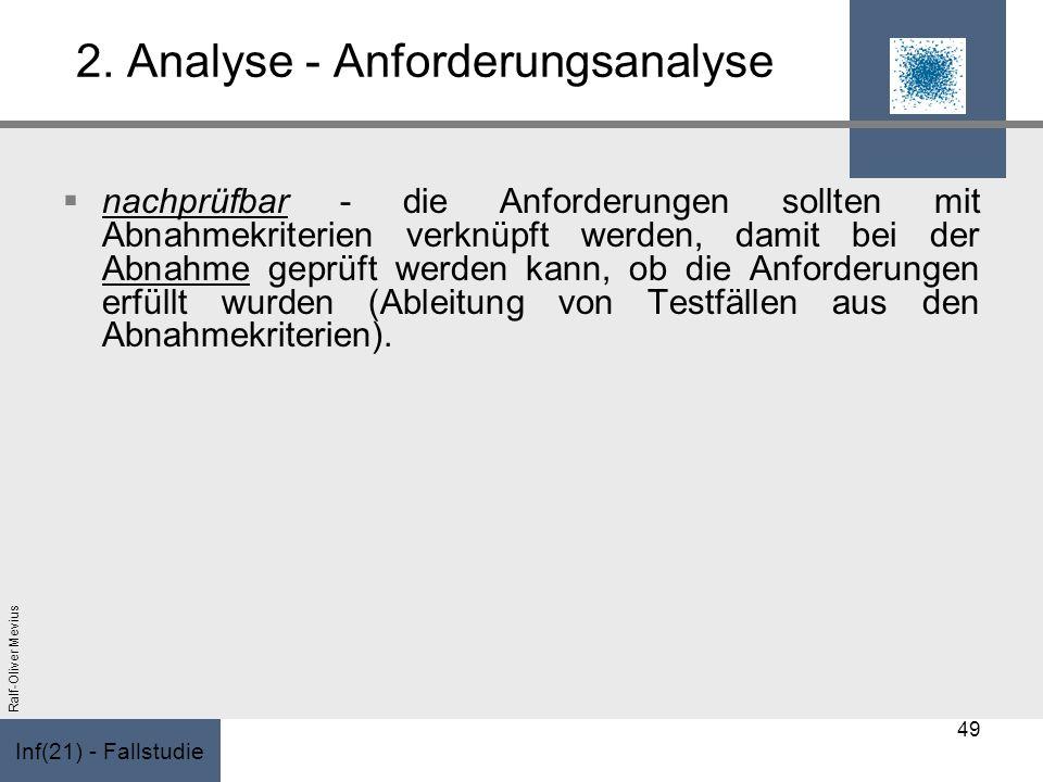 Inf(21) - Fallstudie Ralf-Oliver Mevius 2. Analyse - Anforderungsanalyse nachprüfbar - die Anforderungen sollten mit Abnahmekriterien verknüpft werden