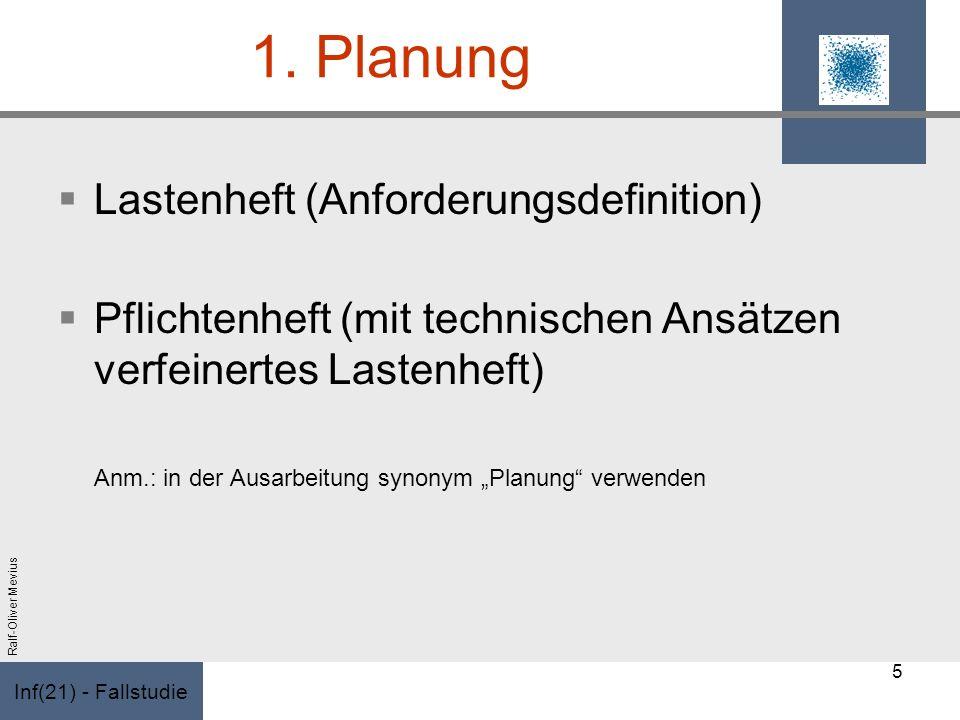 Inf(21) - Fallstudie Ralf-Oliver Mevius 1. Planung Lastenheft (Anforderungsdefinition) Pflichtenheft (mit technischen Ansätzen verfeinertes Lastenheft