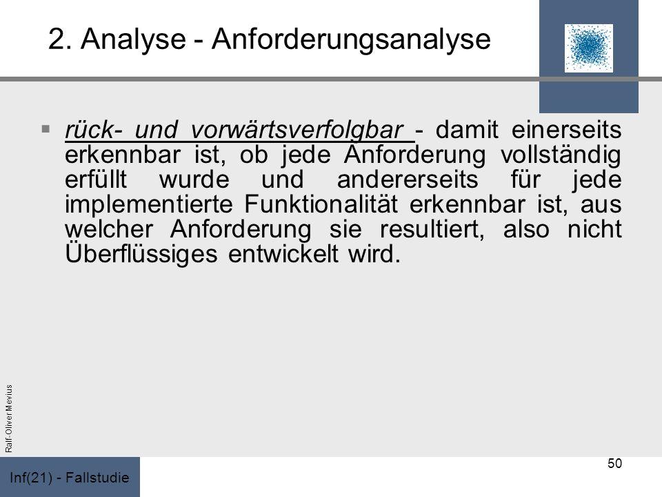 Inf(21) - Fallstudie Ralf-Oliver Mevius 2. Analyse - Anforderungsanalyse rück- und vorwärtsverfolgbar - damit einerseits erkennbar ist, ob jede Anford