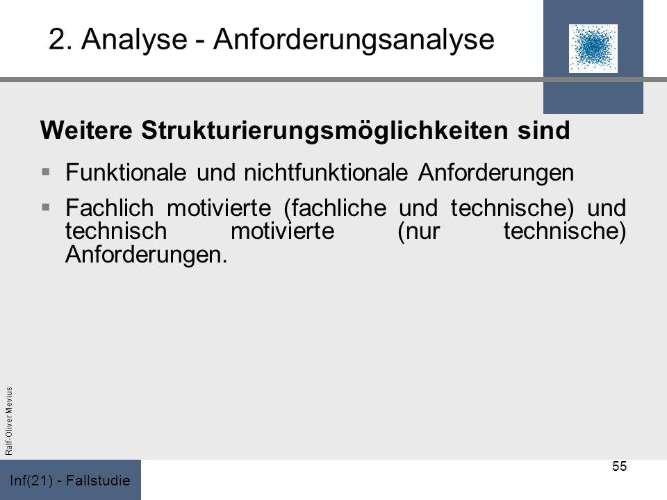 Inf(21) - Fallstudie Ralf-Oliver Mevius 2. Analyse - Anforderungsanalyse Weitere Strukturierungsmöglichkeiten sind Funktionale und nichtfunktionale An