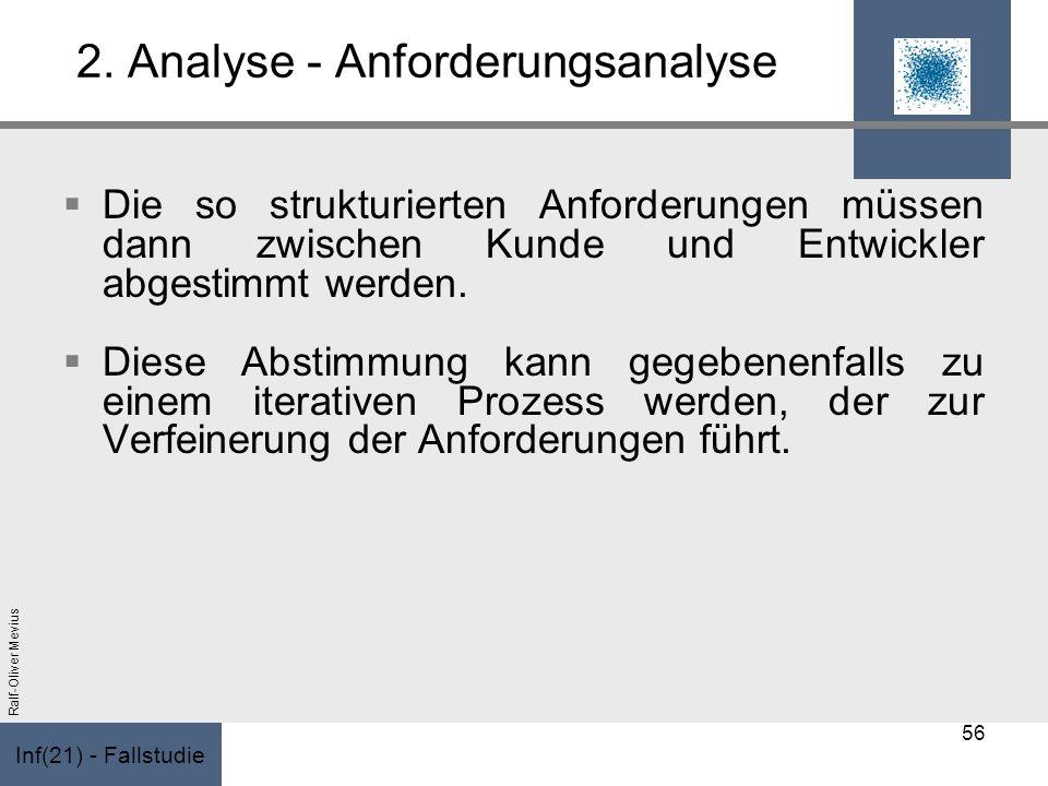 Inf(21) - Fallstudie Ralf-Oliver Mevius 2. Analyse - Anforderungsanalyse Die so strukturierten Anforderungen müssen dann zwischen Kunde und Entwickler