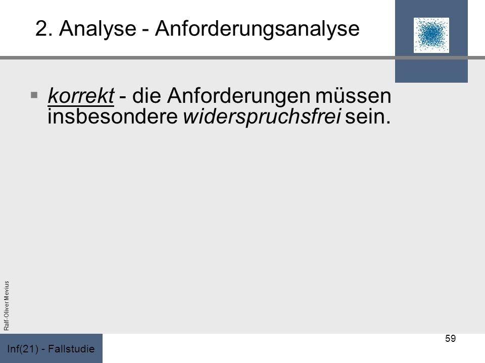 Inf(21) - Fallstudie Ralf-Oliver Mevius 2. Analyse - Anforderungsanalyse korrekt - die Anforderungen müssen insbesondere widerspruchsfrei sein. 59