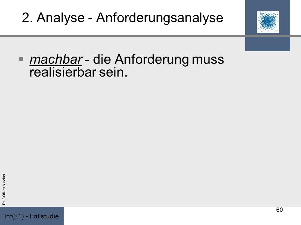 Inf(21) - Fallstudie Ralf-Oliver Mevius 2. Analyse - Anforderungsanalyse machbar - die Anforderung muss realisierbar sein. 60