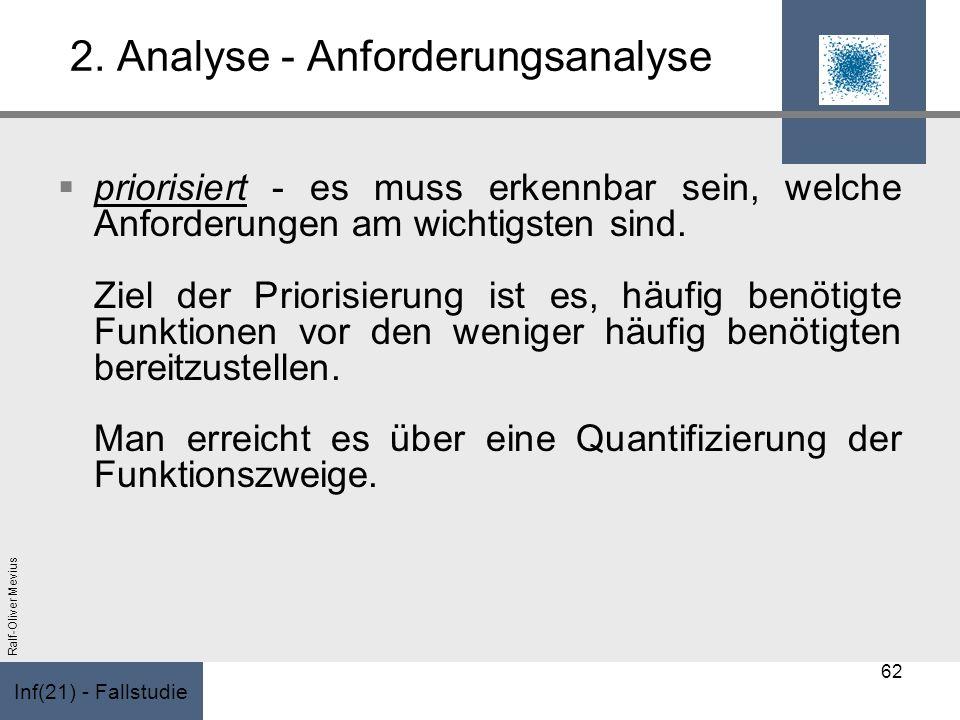 Inf(21) - Fallstudie Ralf-Oliver Mevius 2. Analyse - Anforderungsanalyse priorisiert - es muss erkennbar sein, welche Anforderungen am wichtigsten sin