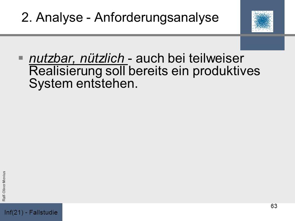 Inf(21) - Fallstudie Ralf-Oliver Mevius 2. Analyse - Anforderungsanalyse nutzbar, nützlich - auch bei teilweiser Realisierung soll bereits ein produkt
