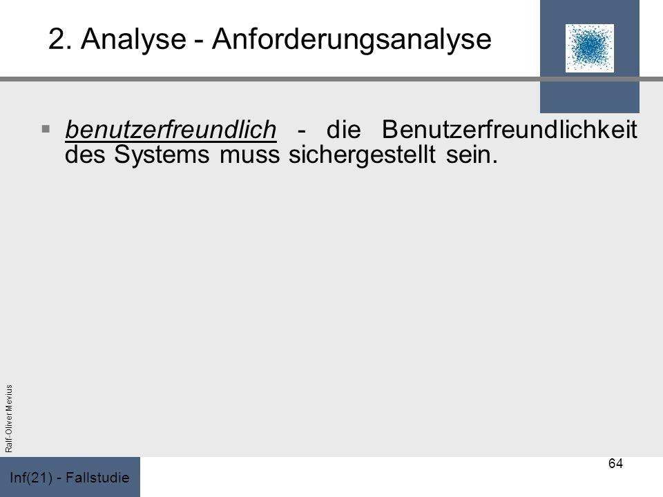 Inf(21) - Fallstudie Ralf-Oliver Mevius 2. Analyse - Anforderungsanalyse benutzerfreundlich - die Benutzerfreundlichkeit des Systems muss sichergestel