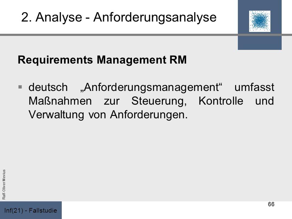 Inf(21) - Fallstudie Ralf-Oliver Mevius 2. Analyse - Anforderungsanalyse Requirements Management RM deutsch Anforderungsmanagement umfasst Maßnahmen z