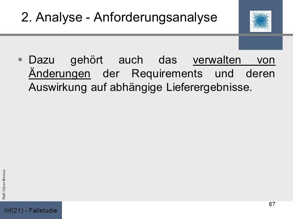 Inf(21) - Fallstudie Ralf-Oliver Mevius 2. Analyse - Anforderungsanalyse Dazu gehört auch das verwalten von Änderungen der Requirements und deren Ausw