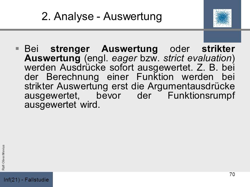 Inf(21) - Fallstudie Ralf-Oliver Mevius 2. Analyse - Auswertung Bei strenger Auswertung oder strikter Auswertung (engl. eager bzw. strict evaluation)