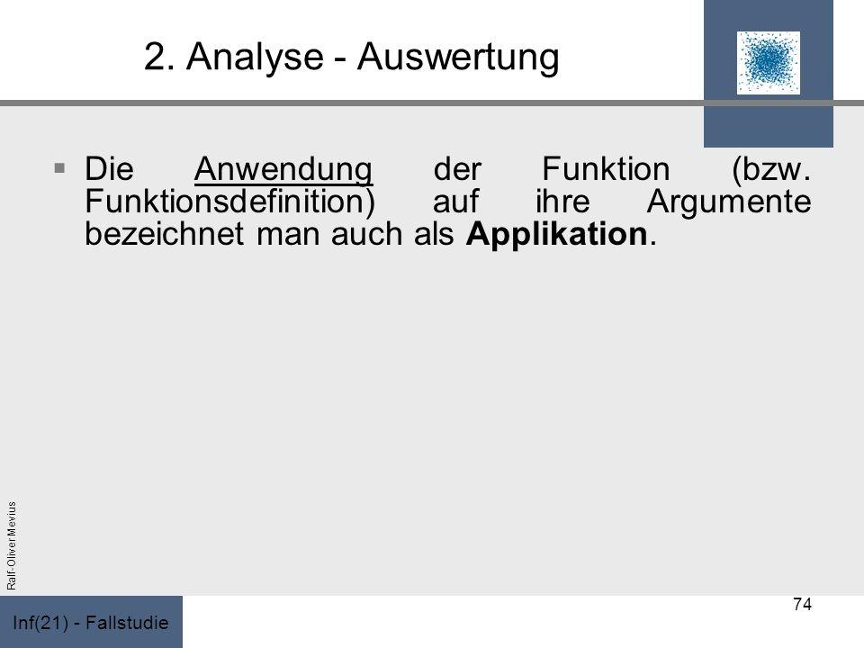 Inf(21) - Fallstudie Ralf-Oliver Mevius 2. Analyse - Auswertung Die Anwendung der Funktion (bzw. Funktionsdefinition) auf ihre Argumente bezeichnet ma