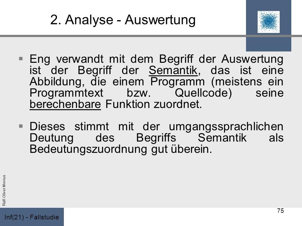 Inf(21) - Fallstudie Ralf-Oliver Mevius 2. Analyse - Auswertung Eng verwandt mit dem Begriff der Auswertung ist der Begriff der Semantik, das ist eine