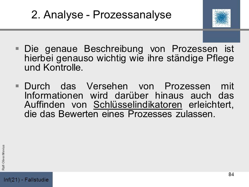 Inf(21) - Fallstudie Ralf-Oliver Mevius 2. Analyse - Prozessanalyse Die genaue Beschreibung von Prozessen ist hierbei genauso wichtig wie ihre ständig