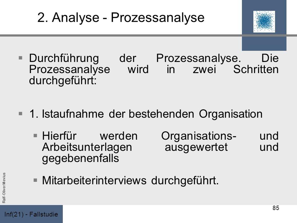 Inf(21) - Fallstudie Ralf-Oliver Mevius 2. Analyse - Prozessanalyse Durchführung der Prozessanalyse. Die Prozessanalyse wird in zwei Schritten durchge