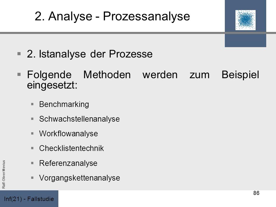 Inf(21) - Fallstudie Ralf-Oliver Mevius 2. Analyse - Prozessanalyse 2. Istanalyse der Prozesse Folgende Methoden werden zum Beispiel eingesetzt: Bench