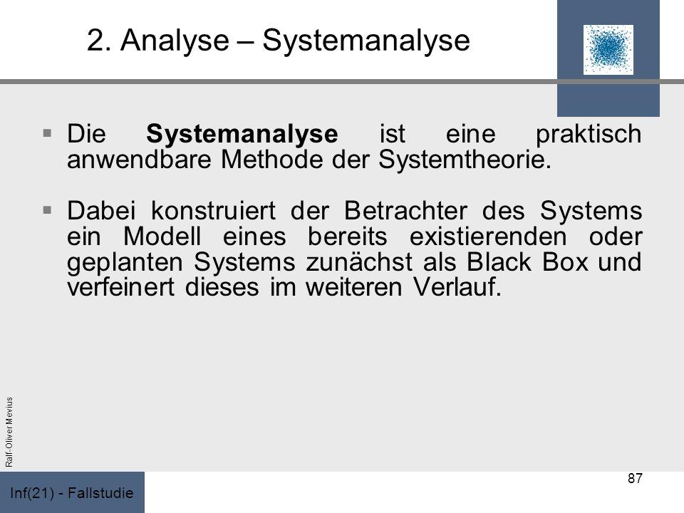 Inf(21) - Fallstudie Ralf-Oliver Mevius 2. Analyse – Systemanalyse Die Systemanalyse ist eine praktisch anwendbare Methode der Systemtheorie. Dabei ko