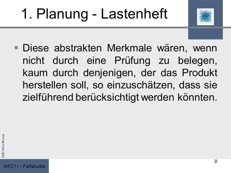 Inf(21) - Fallstudie Ralf-Oliver Mevius 1. Planung - Lastenheft Diese abstrakten Merkmale wären, wenn nicht durch eine Prüfung zu belegen, kaum durch
