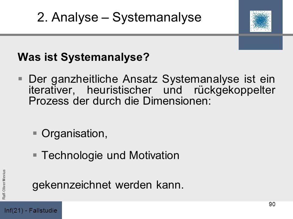 Inf(21) - Fallstudie Ralf-Oliver Mevius 2. Analyse – Systemanalyse Was ist Systemanalyse? Der ganzheitliche Ansatz Systemanalyse ist ein iterativer, h