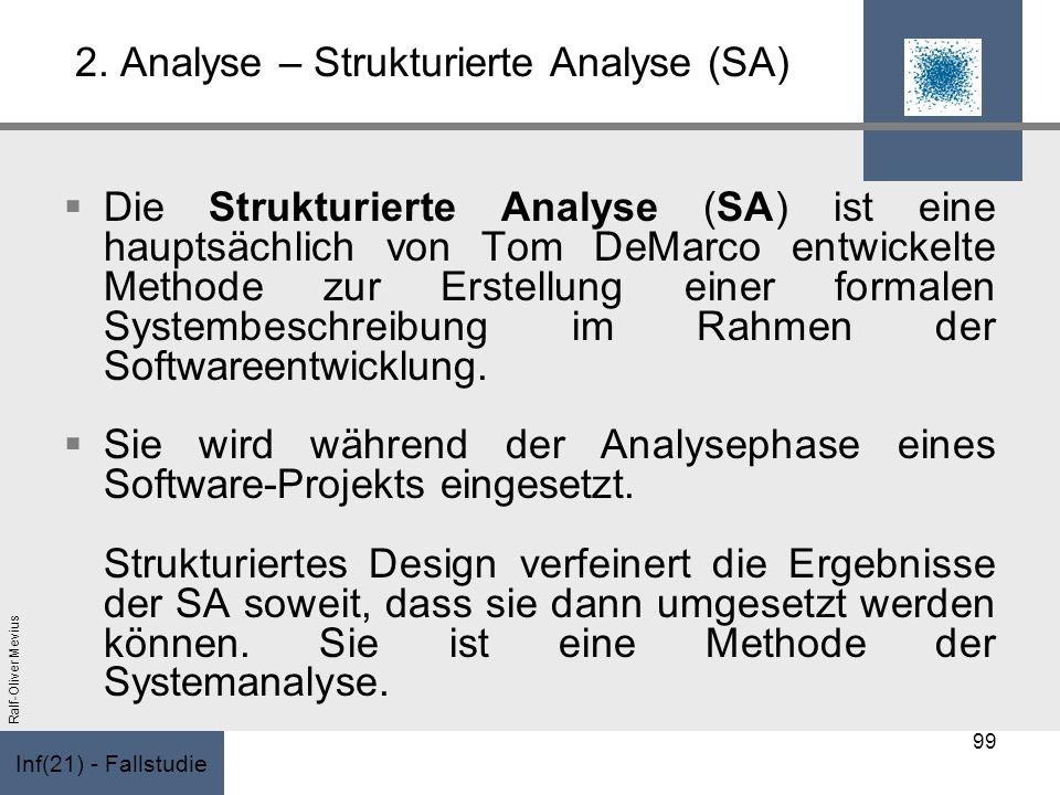 Inf(21) - Fallstudie Ralf-Oliver Mevius 2. Analyse – Strukturierte Analyse (SA) Die Strukturierte Analyse (SA) ist eine hauptsächlich von Tom DeMarco