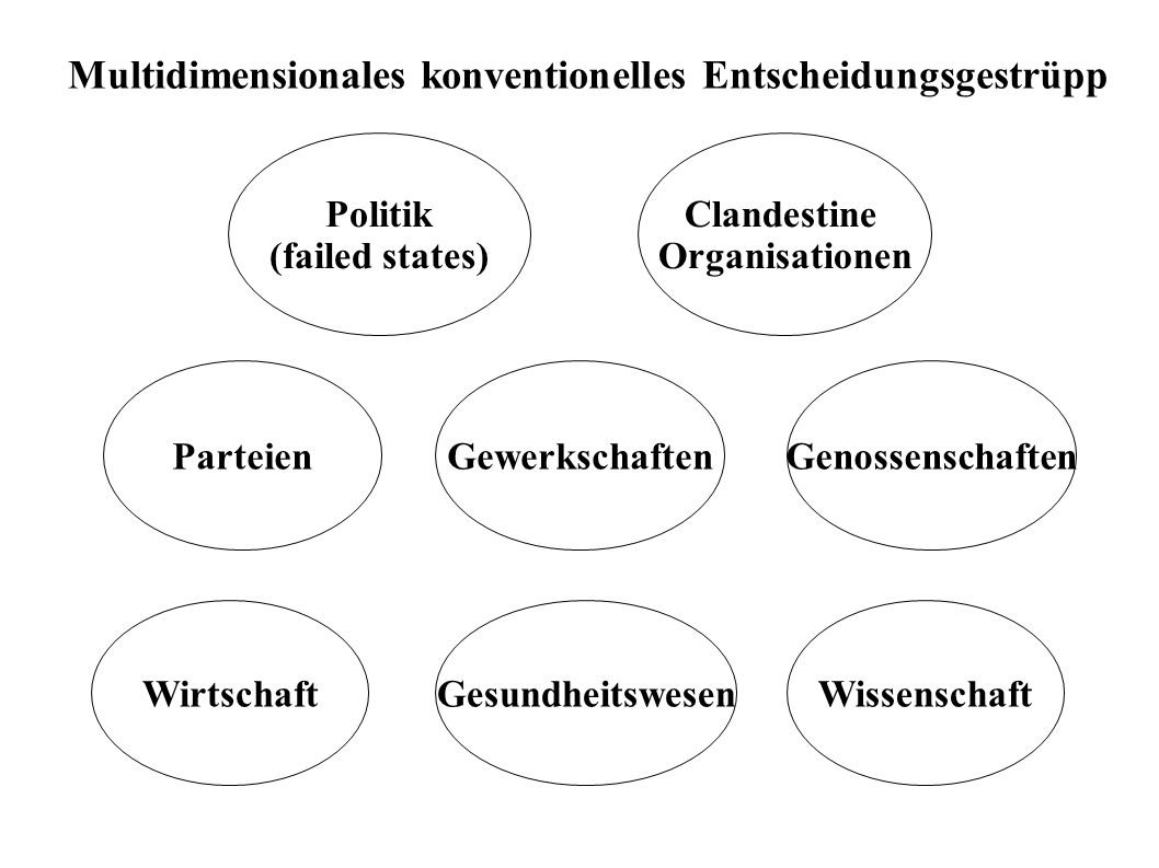 Politik (failed states) WirtschaftWissenschaft Parteien Clandestine Organisationen Multidimensionales konventionelles Entscheidungsgestrüpp GenossenschaftenGewerkschaften Gesundheitswesen