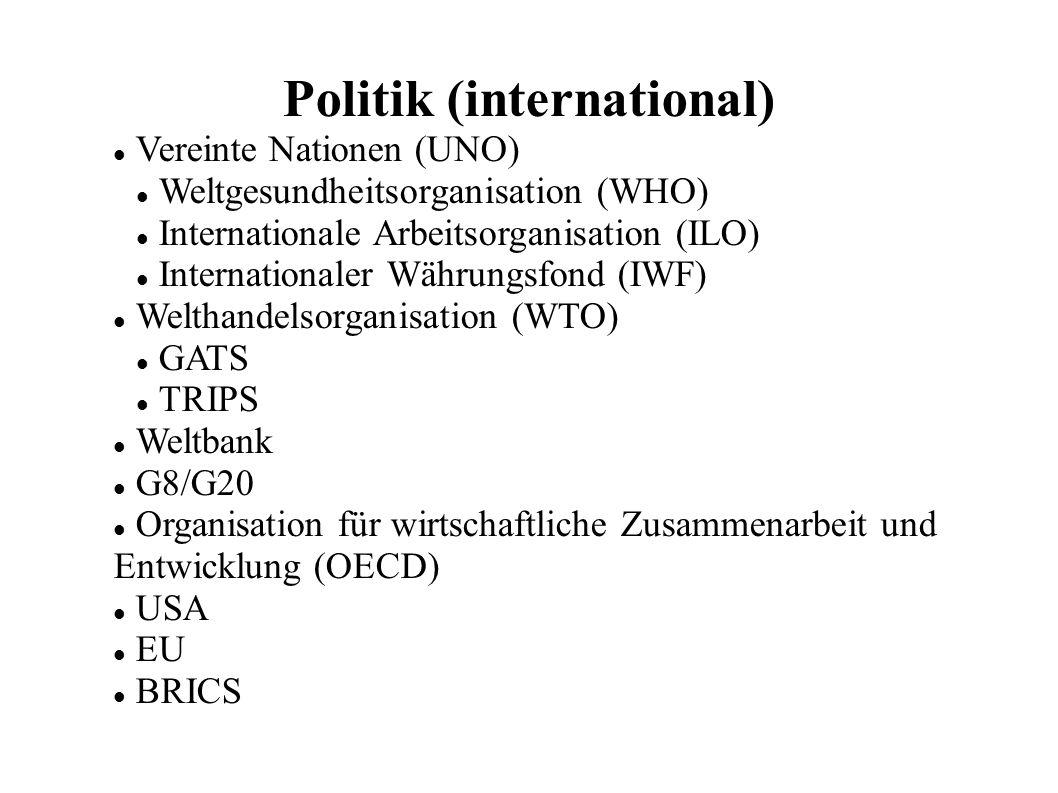 Politik (international) Vereinte Nationen (UNO) Weltgesundheitsorganisation (WHO) Internationale Arbeitsorganisation (ILO) Internationaler Währungsfond (IWF) Welthandelsorganisation (WTO) GATS TRIPS Weltbank G8/G20 Organisation für wirtschaftliche Zusammenarbeit und Entwicklung (OECD) USA EU BRICS