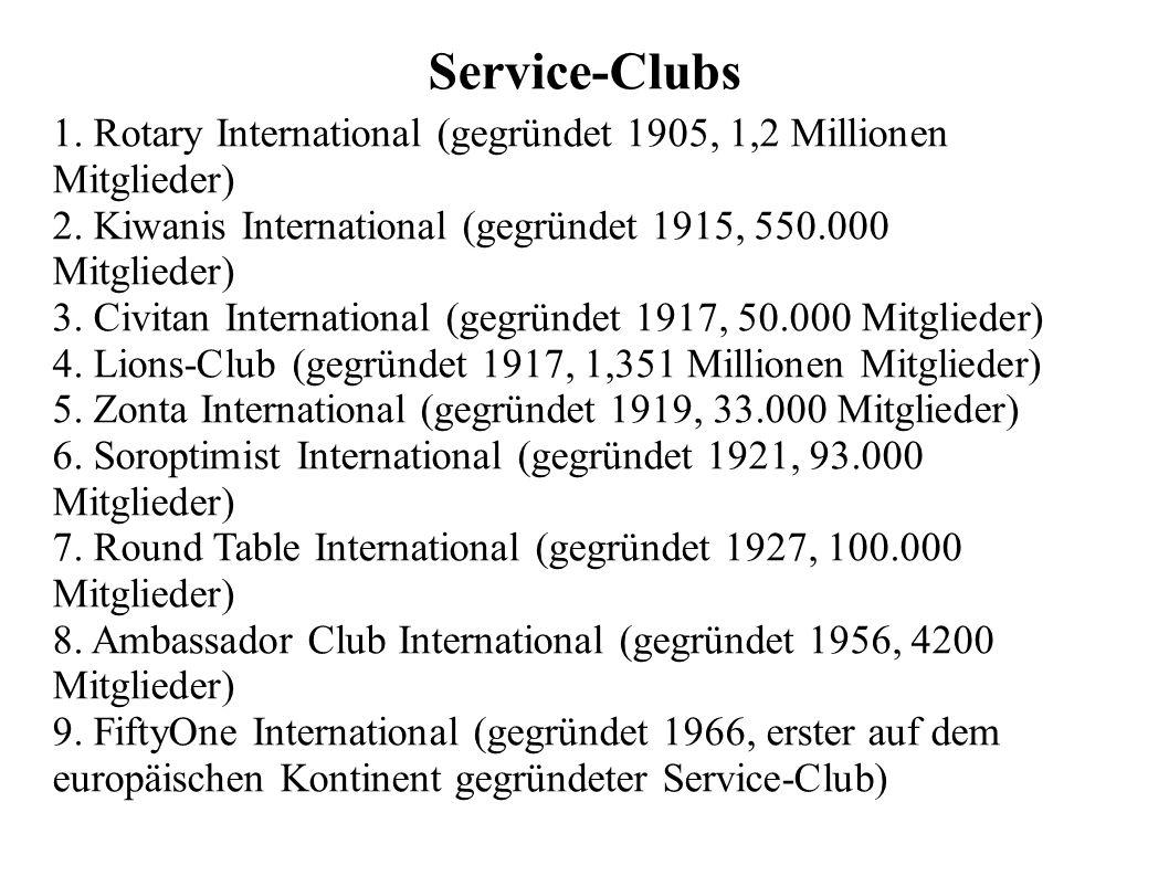 Service-Clubs 1. Rotary International (gegründet 1905, 1,2 Millionen Mitglieder) 2. Kiwanis International (gegründet 1915, 550.000 Mitglieder) 3. Civi