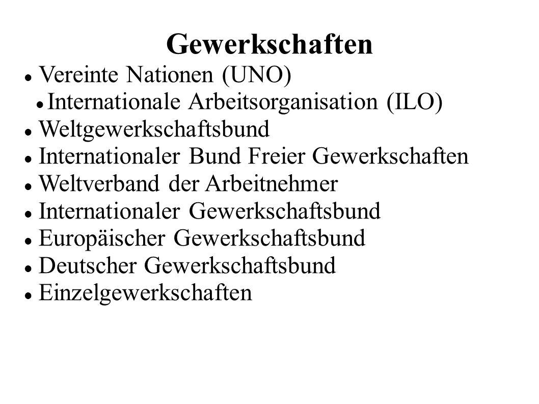 Gewerkschaften Vereinte Nationen (UNO) Internationale Arbeitsorganisation (ILO) Weltgewerkschaftsbund Internationaler Bund Freier Gewerkschaften Weltverband der Arbeitnehmer Internationaler Gewerkschaftsbund Europäischer Gewerkschaftsbund Deutscher Gewerkschaftsbund Einzelgewerkschaften