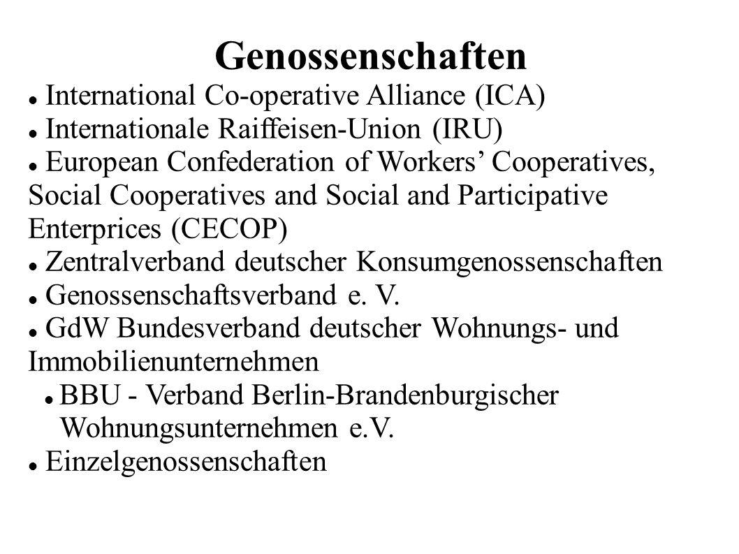 Genossenschaften International Co-operative Alliance (ICA) Internationale Raiffeisen-Union (IRU) European Confederation of Workers Cooperatives, Socia