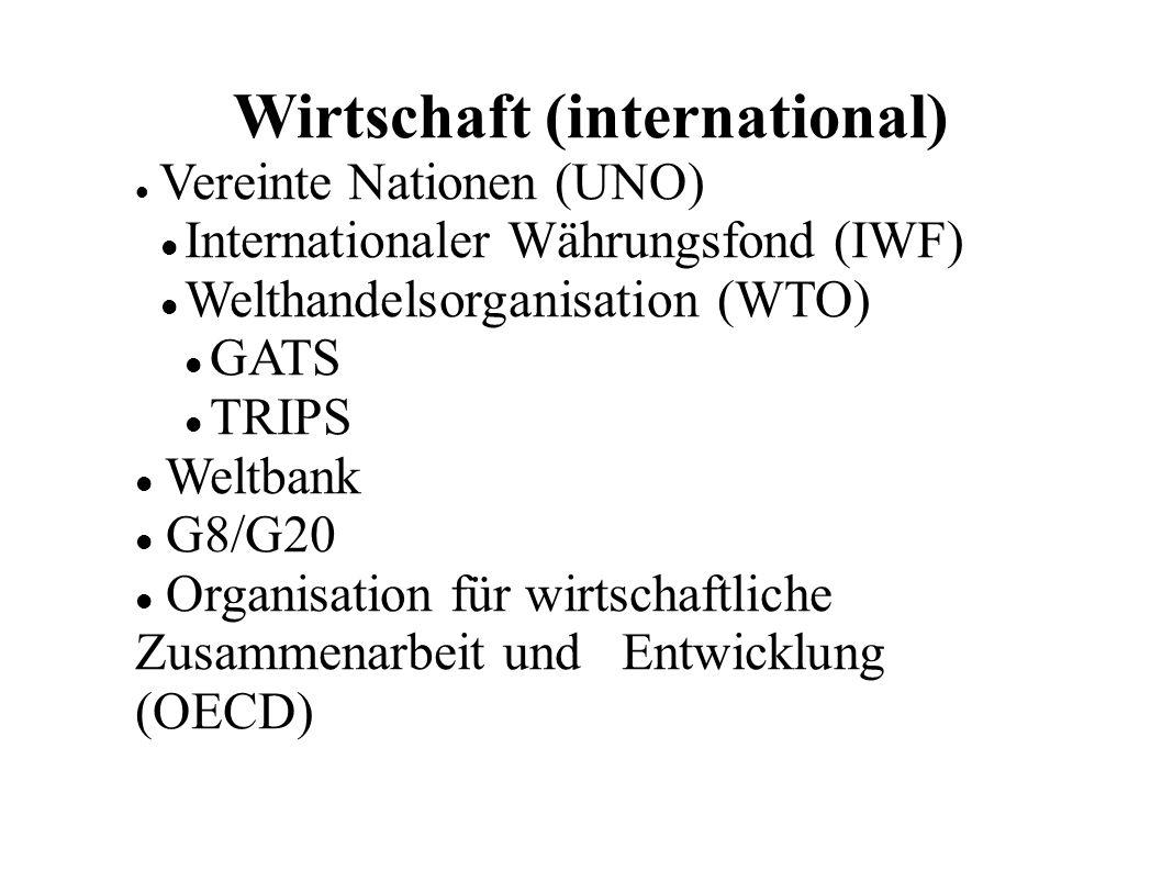Wirtschaft (international) Vereinte Nationen (UNO) Internationaler Währungsfond (IWF) Welthandelsorganisation (WTO) GATS TRIPS Weltbank G8/G20 Organisation für wirtschaftliche Zusammenarbeit und Entwicklung (OECD)