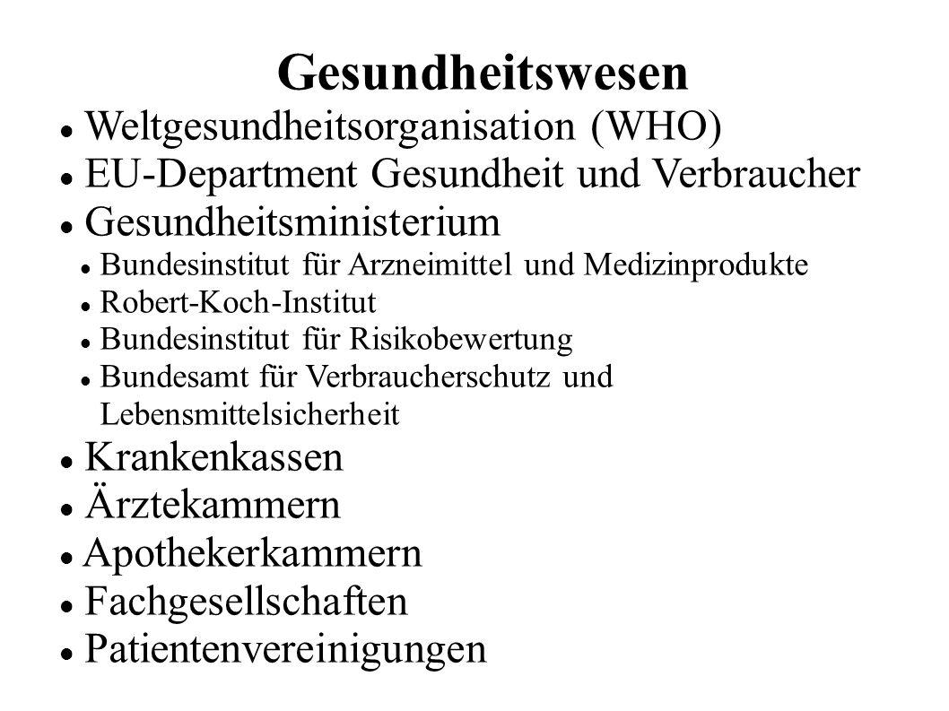 Gesundheitswesen Weltgesundheitsorganisation (WHO) EU-Department Gesundheit und Verbraucher Gesundheitsministerium Bundesinstitut für Arzneimittel und