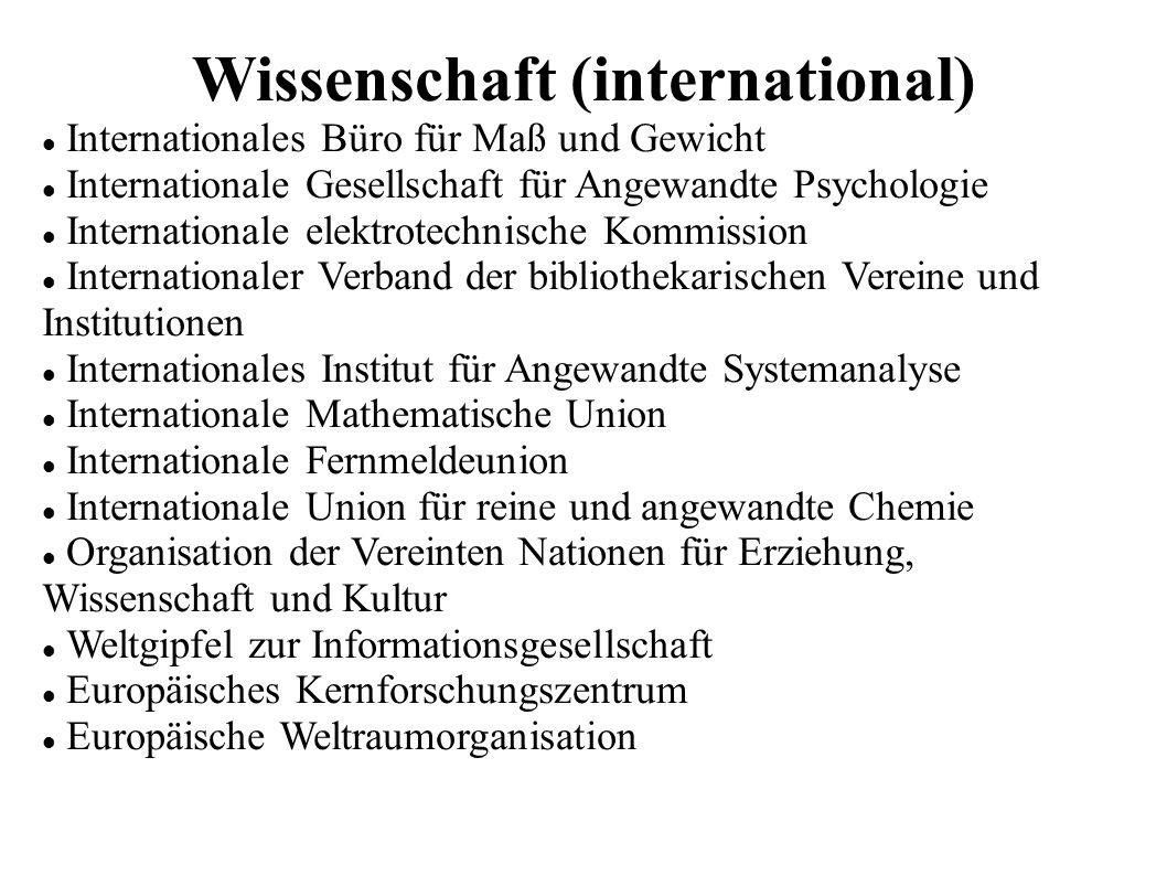Wissenschaft (international) Internationales Büro für Maß und Gewicht Internationale Gesellschaft für Angewandte Psychologie Internationale elektrotec