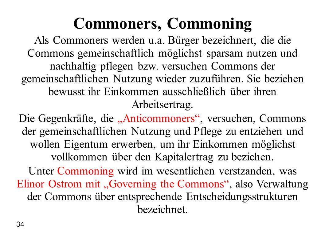 Commoners, Commoning Als Commoners werden u.a. Bürger bezeichnert, die die Commons gemeinschaftlich möglichst sparsam nutzen und nachhaltig pflegen bz