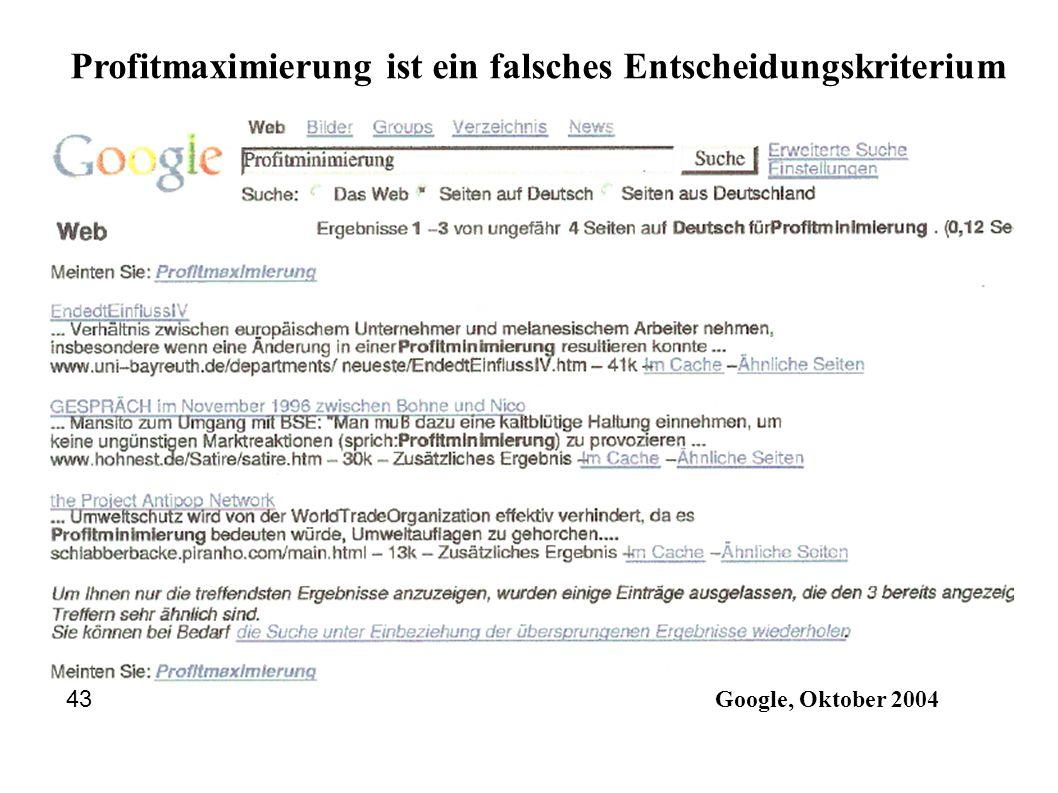 Google, Oktober 2004 43 Profitmaximierung ist ein falsches Entscheidungskriterium