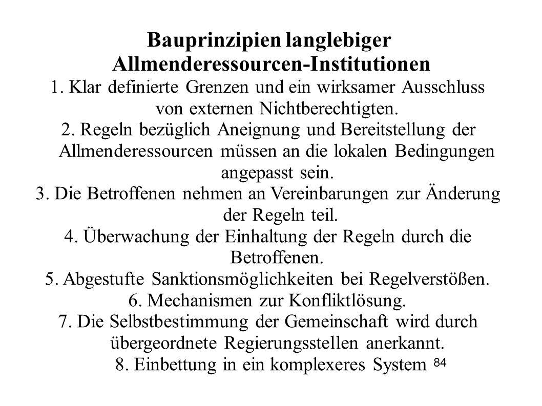 Bauprinzipien langlebiger Allmenderessourcen-Institutionen 1.
